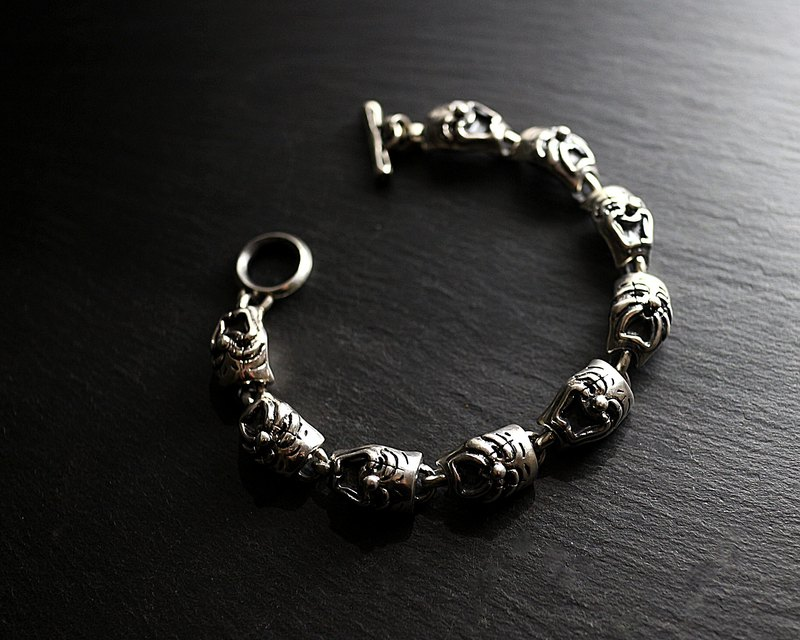 Tragedy & Comedy sterling silver crying smiley bracelet