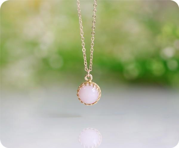 Beloved Pink Opal Bezel Necklace