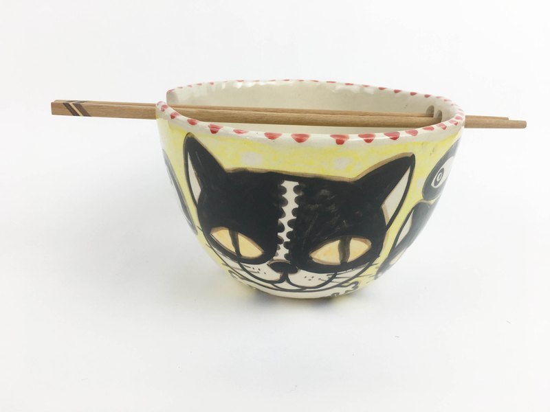 Nice Little Clay handmade bowl_Happy Cat 0201-08
