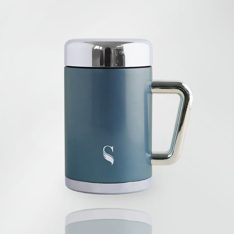 SWANZ Ceramic Insulation Mug (4 Colors) - 420ml (International Brand / Quality Assurance) - Simple Blue