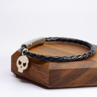 Cranial head leather braided bracelet