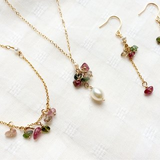Summer match, Red and green tourmaline earrings/bracelets/necklaces, 14kgf