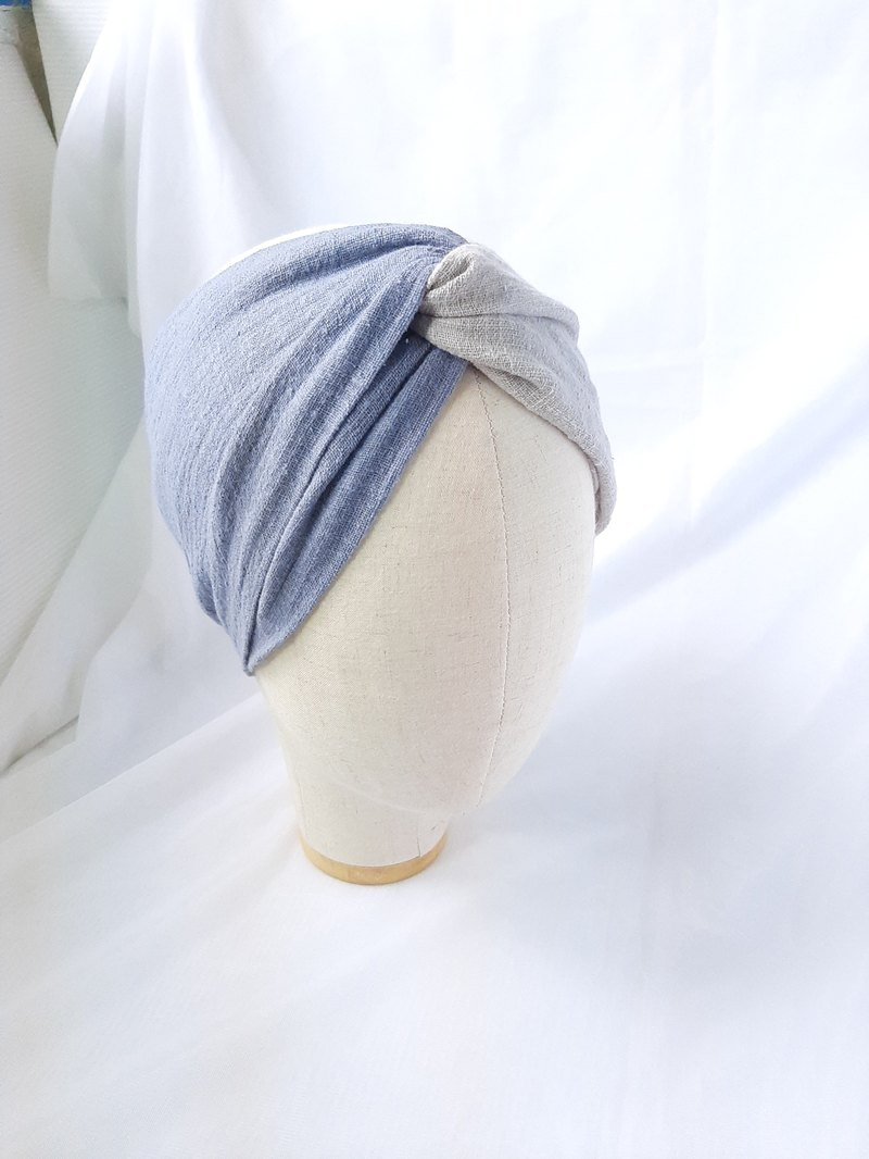 Blue and gray two-color turban scarf type headband