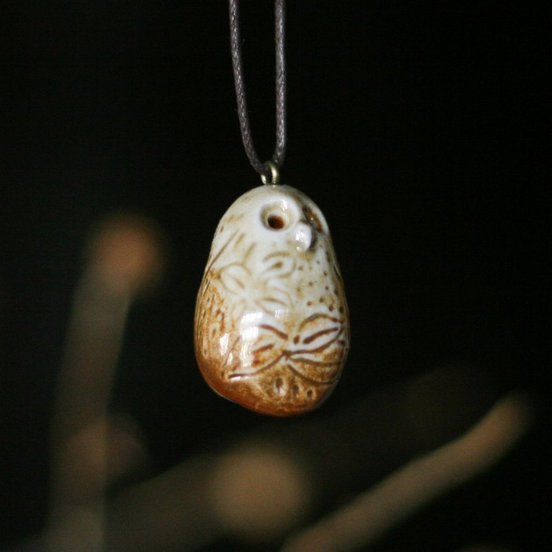 Firewood Pottery Essential Oil Necklace Botanical Owl
