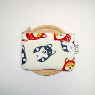 [Fortune Firewood - White] Coin Purse Clutch Carrying Zipper Bag Christmas Exchange Gift