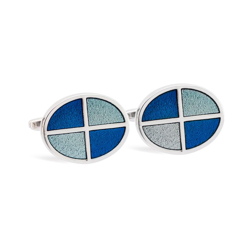 Blue Shades Oval Cufflink with Quadrant Pattern