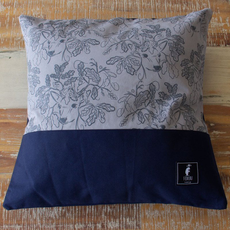"Federi Canvas Cushion Cover ""Deer and leaves"" gray and navy"