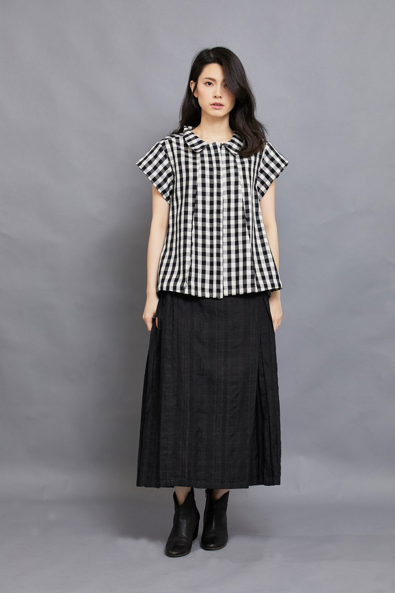 triangle pleats top - short sleeve-lattice-fair trade