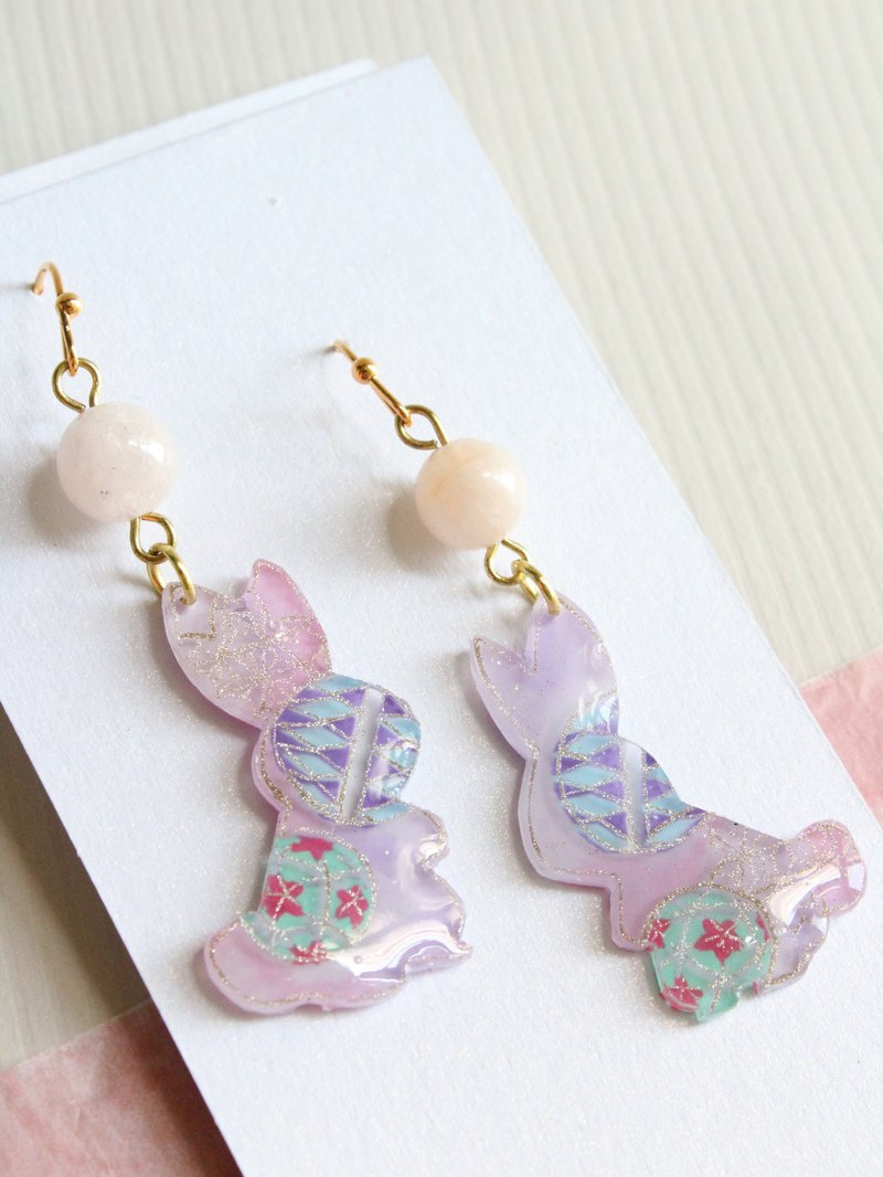 Light pink and light purple rabbit shrink plastic earrings