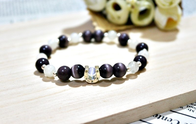 Natural stone X silver elastic bracelet _ purple horseshoe
