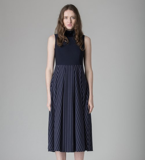 Deep Blue Long Striped Dress - Hong Kong Original Brand Lapeewee
