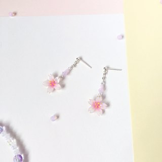 [Sakura Limited Edition] Fresh Mini White Cherry blossoms Flower Crystal 925 Sterling Silver earrings