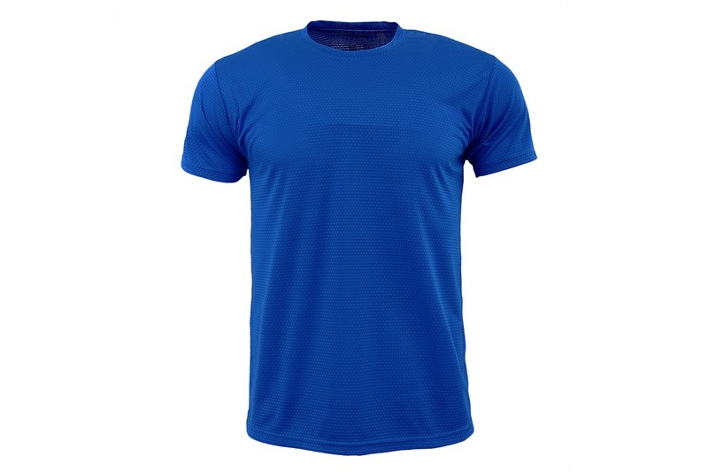 X-DRY plain moisture wicking crew neck T :: sapphire :: men and women can wear