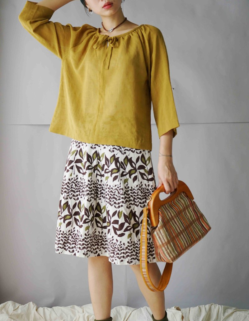 Treasure Hunting - Mustard Yellow Umbrella Bandage Cool Five-Piece Top