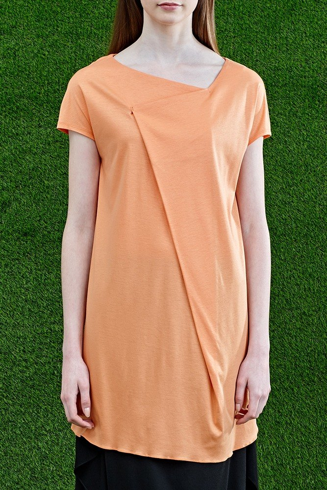 Pink orange large folding three-dimensional knit top