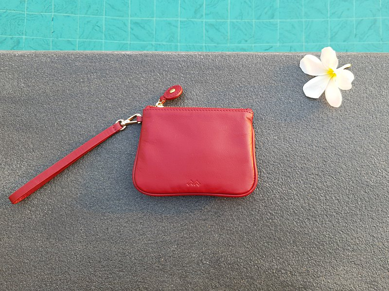 Jolie - Coin pouch , Zipper leather goods , Red color , Handmade
