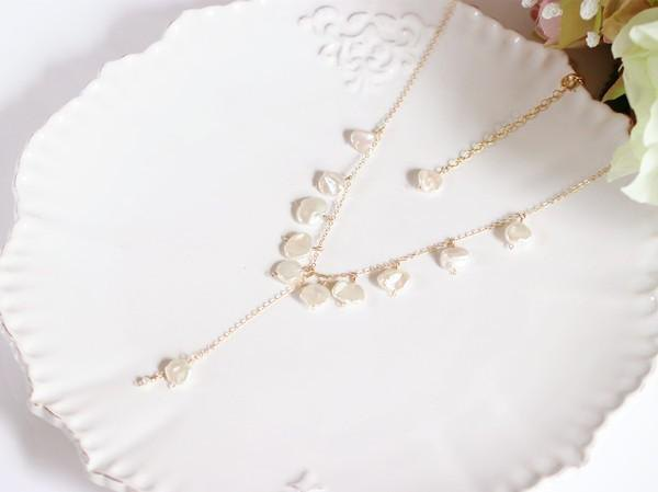 Y-shaped necklace of baroque pearl (pearl) June birthstone