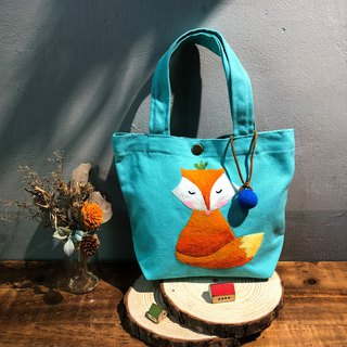 Wool felt embroidery green lunch bag - elegant fox