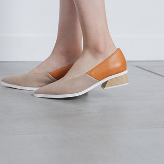 White edge V mouth pointed shoes orange