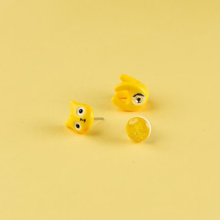 Yellow Polymer Clay Earrings -  Spring Cat Earrings
