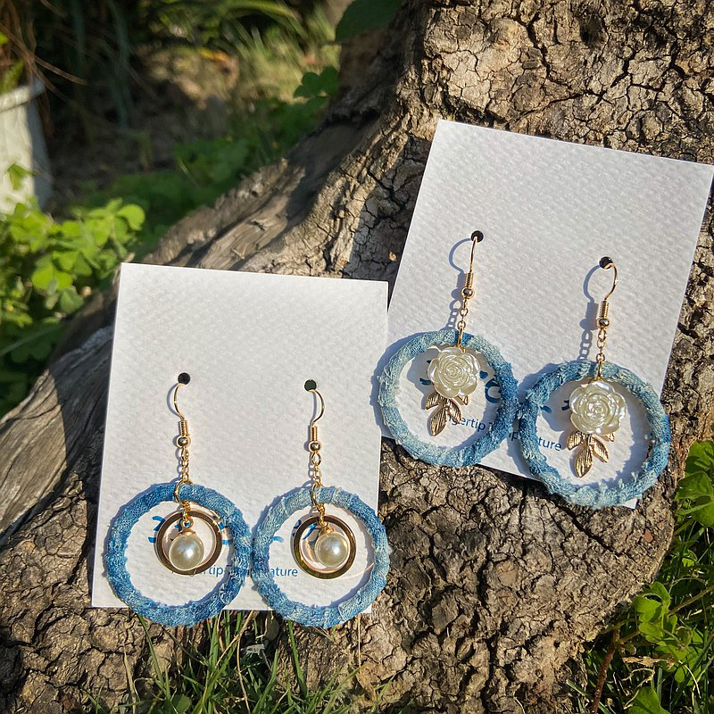 Blue dyed cloth ring earrings
