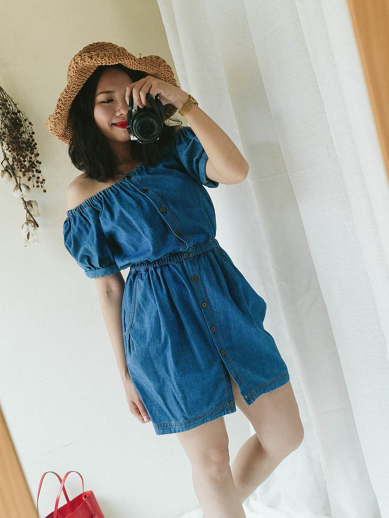 Hiroshima flat mouth breasted spring dream park party antique one-piece denim skirt overalls dress