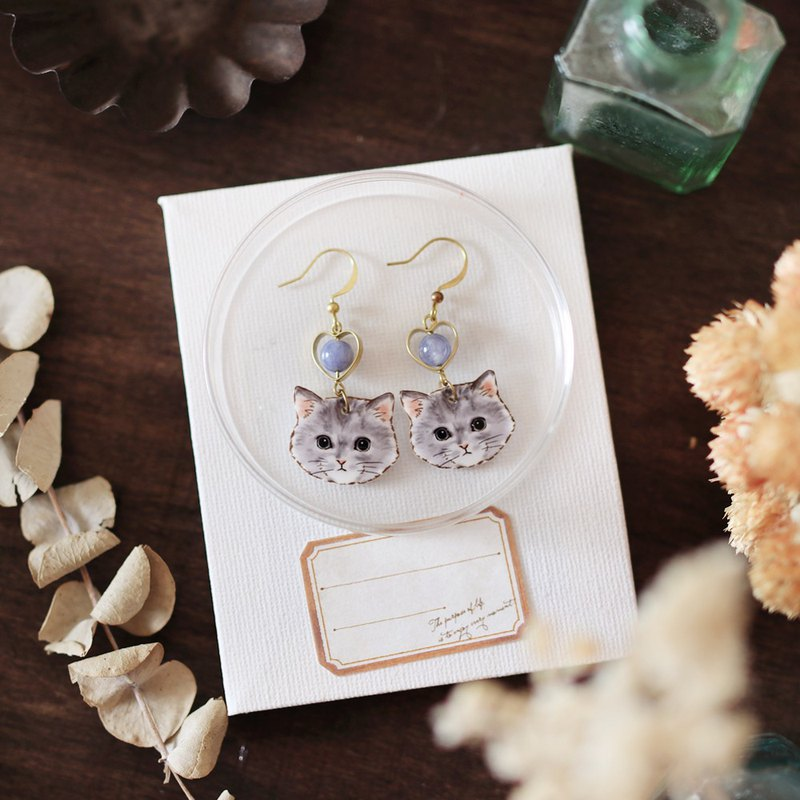 Small animal natural stone handmade earrings - gray cat berry can be changed