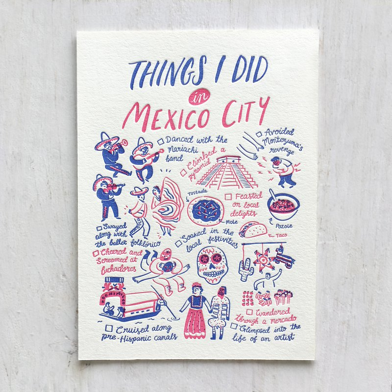 Things I Did in Mexico City Letterpress Postcard