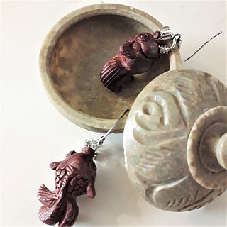 Original Natural Winds - Red Sandalwood Goldfish Platinum Sterling Silver Earrin