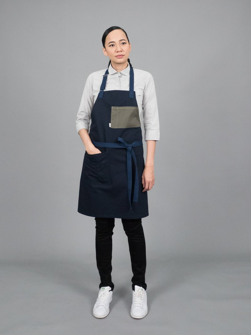 PEBBLE Apron - (Navyblue/Fern Green)