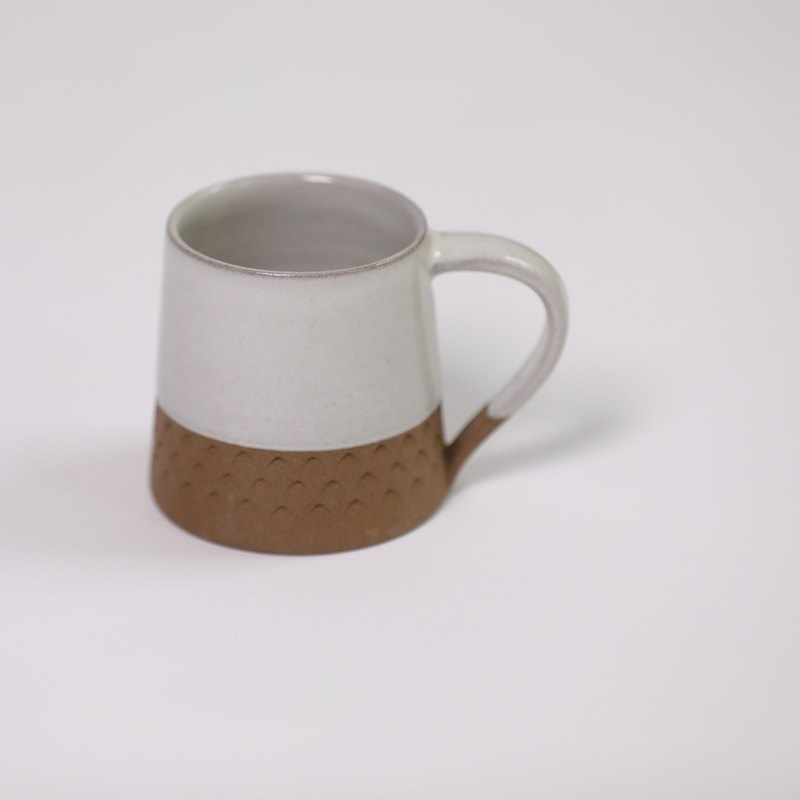 Triangle Pattern Cone Mug - White - Fair Trade