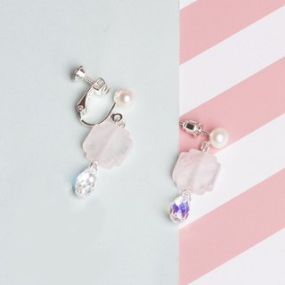 YUNSUO-original design-pink begonia crystal Chinese style earrings clips