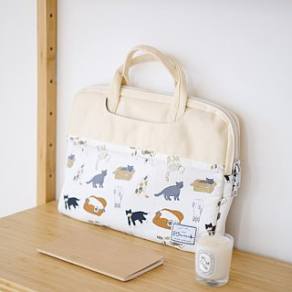 Cats to play with - color matching fabric laptop bag (13-14吋) / 815a.m