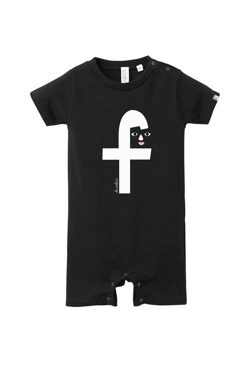 Alphabet F Baby Cute Print T-Shirt Fartsuit Jumpsuit (Black) Baby One Day Gift