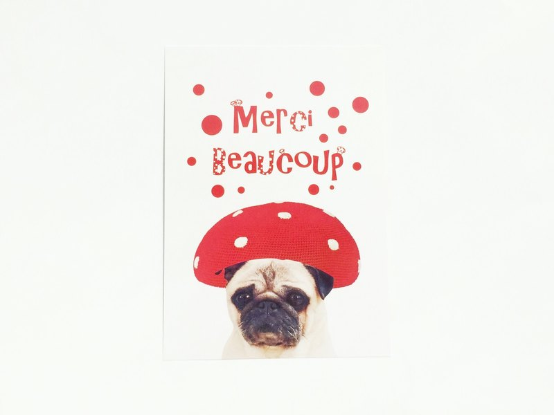 [YONG] Barco brave Merci Beaucoup Messi mushroom thanks card / postcard