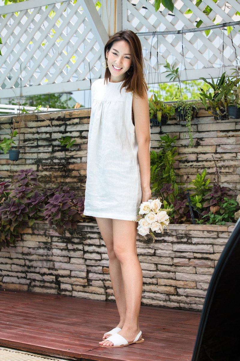 Amy Linen Dress in Cream - made-to-order