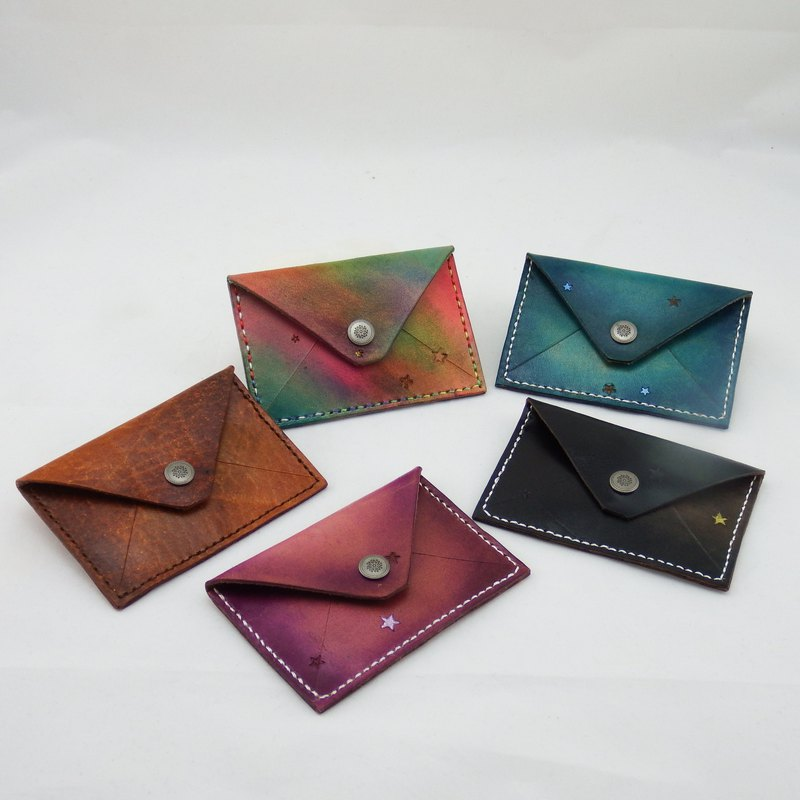Hand dyed simple leather business card holder