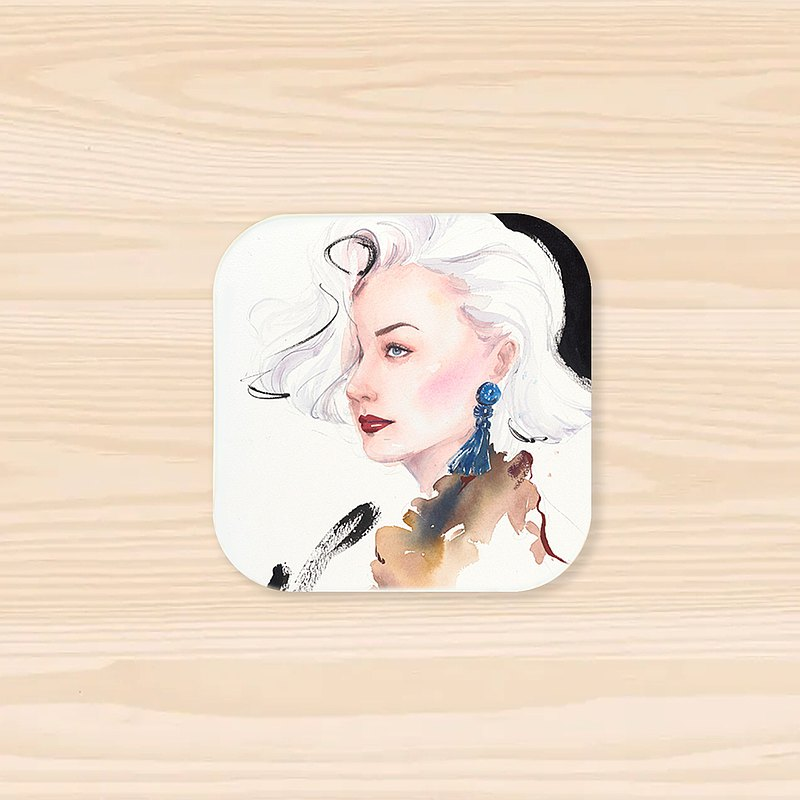 【Ban Dou】 Square absorbent coaster-Fashion artwork-Black and white hair woman