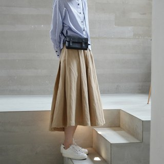 Pleated khaki skirt | skirt | cotton | independent brand | Sora-171