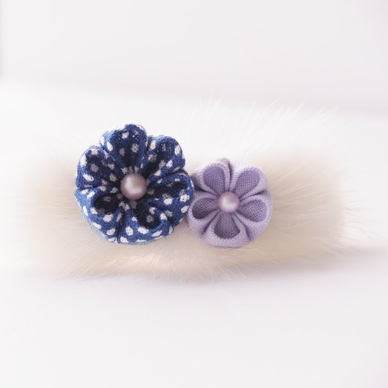 Cute Blue and Purple Flowers White Faux Fur 16K Gold Plated Barrette custom