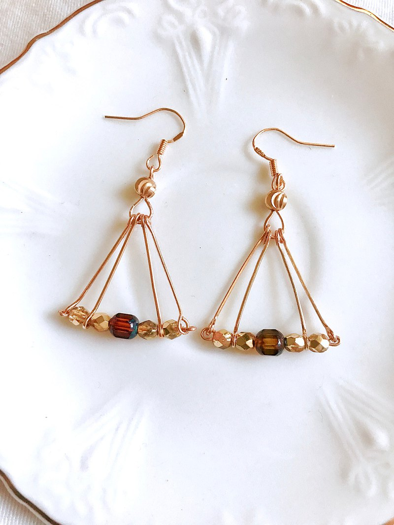 Ancient Civilization Priest Series / Sun Temple Czech Bead Earrings