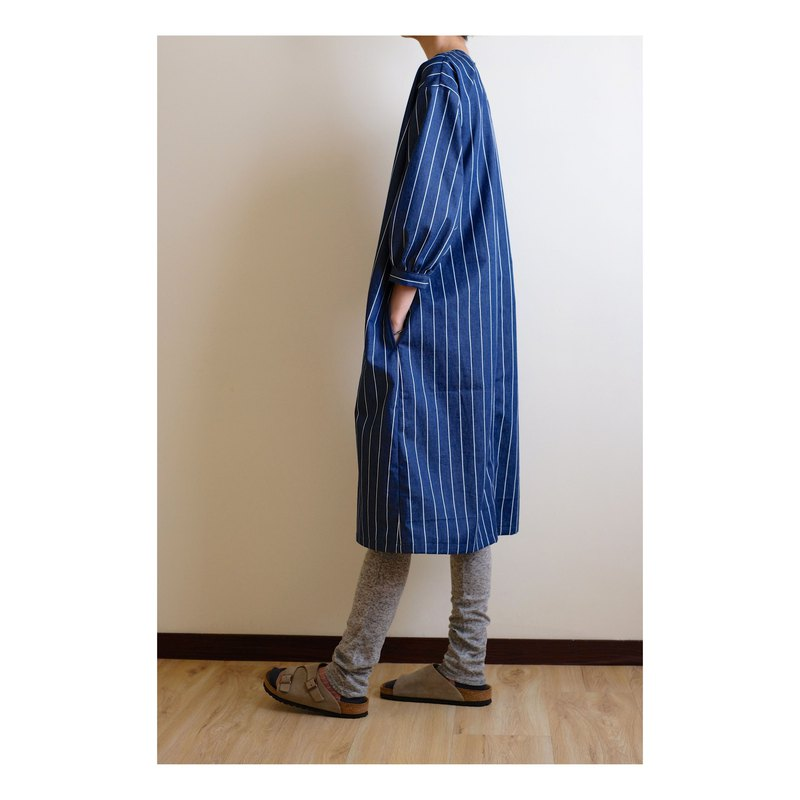 Daily Handmade Suit Dark Blue Straight Stripe Puff Sleeve Straight Dress Cotton