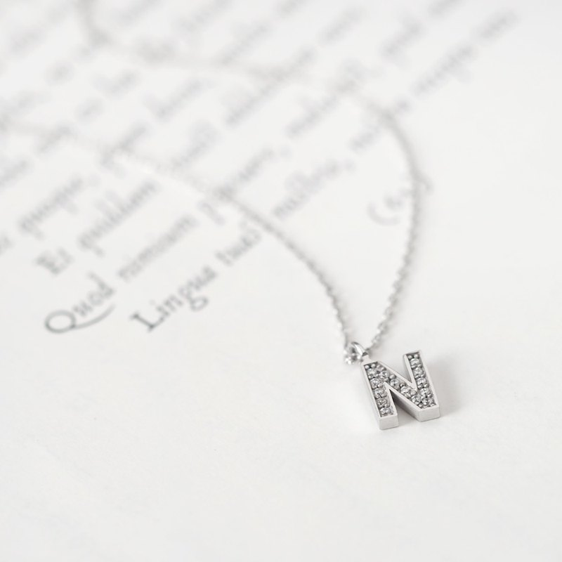 Initial N Alphabet Necklace Silver 925