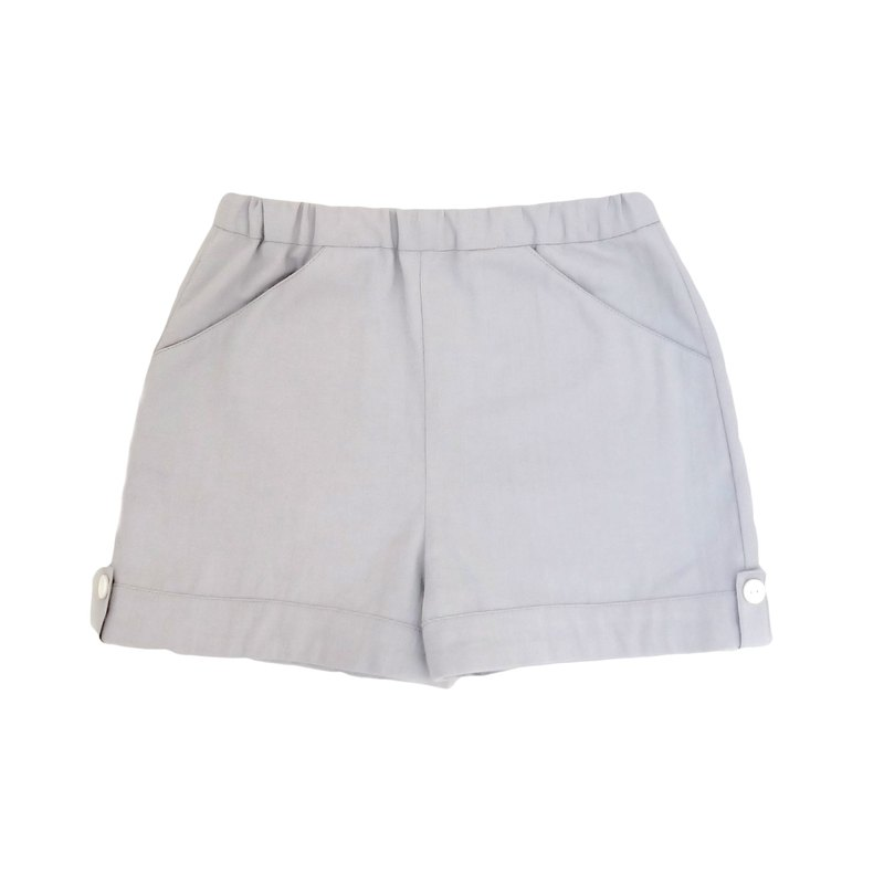 Little Girls Plain Dove Grey Shorts - 100% Cotton - Handmade Children's Clothes