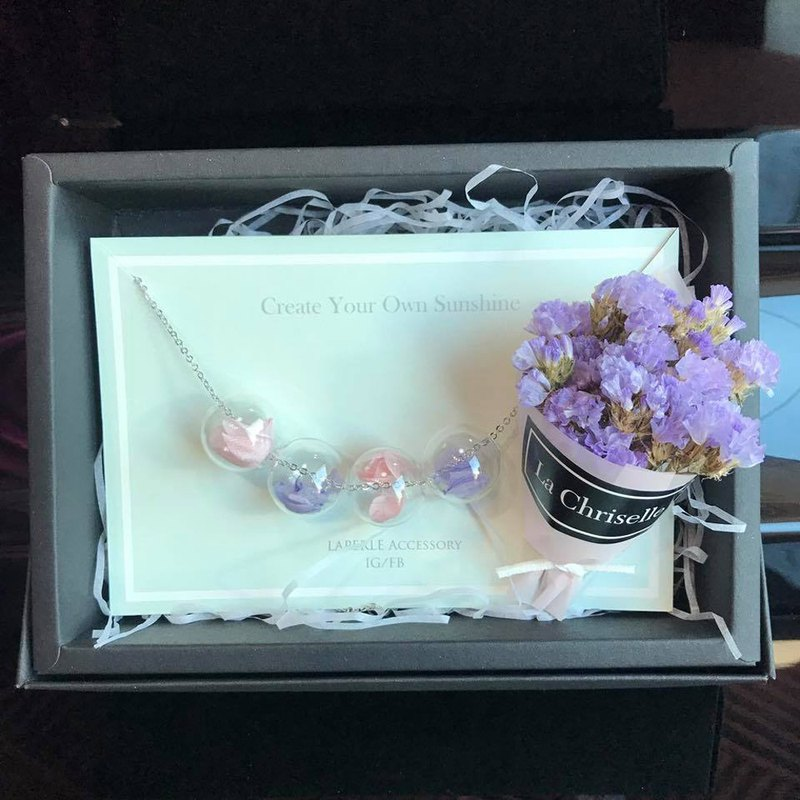 Personalized Dry Flower lower Gift Box Necklace Earrings Birthday Bridesmaid