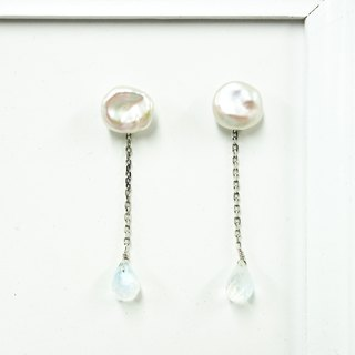 SV925 Cloud pearl & moonstone briolette earrings【Pio by Parakee】月光石 云珍珠