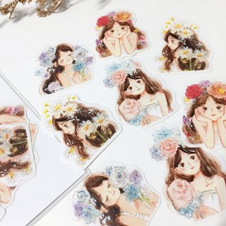 / Stickers/ Thumbelina and Flowers / 8pcs /