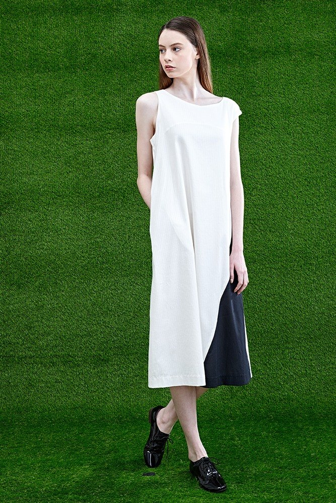 White stitching strap long dress