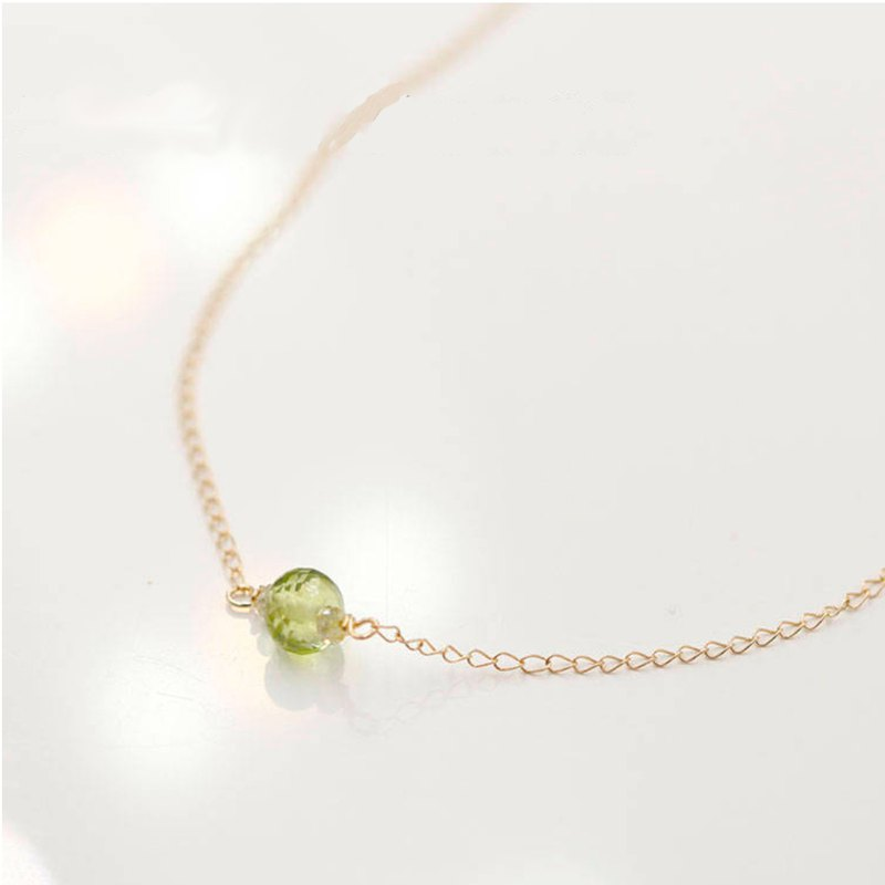 Peridot and Dainty Yellow Diamond Necklace 14k Solid Gold August birthstone