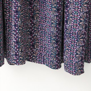 【RE0503D1128】 retro geometric printing purple short-sleeved spring and summer ancient dress
